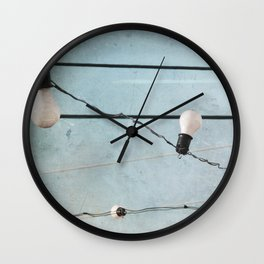 String Lights Industrial Chic Low Tech Wires and Light Bulbs Minimalist Wall Clock