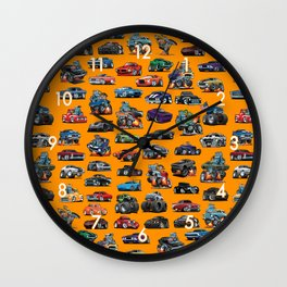 American Hot Rods, Muscle Cars, Street Rods, Pickup Trucks and Motorcycle Cartoons Wall Clock