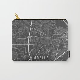 Mobile Map, Alabama USA - Charcoal Portrait Carry-All Pouch