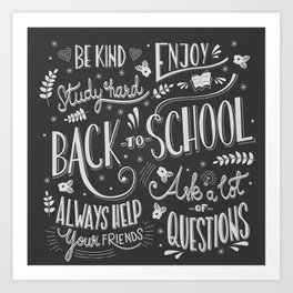 Back to school typography drawing on blackboard with motivational messages, hand lettering Art Print
