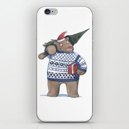 Bear with new year tree iPhone Skin