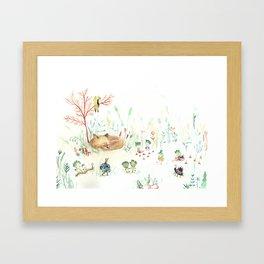 Siesta, Fox sleeping Framed Art Print