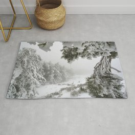 """""""Snowy forest"""". At the foggy mountains... Rug"""