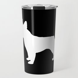 Boston Terrier black and white silhouette minimal pet portrait dog silhouettes Travel Mug