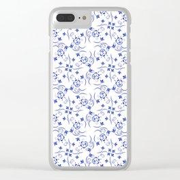 Pattern of little blue flowers Clear iPhone Case