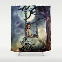 Cute little fairy with kitten on a swing Shower Curtain