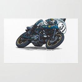 """Cook Neilson & Ducati """"Old Blue"""" 750 Supersport Vintage Motorcycle Artwork Rug"""