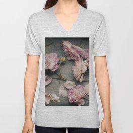 Dusty Pink Roses Unisex V-Neck