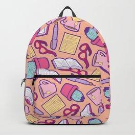 Book Club Pattern in Peach Backpack