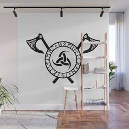 Norse Axe - Triple Horn of Odin Wall Mural