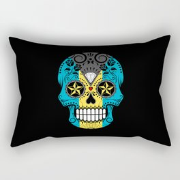 Sugar Skull with Roses and Flag of Bahamas Rectangular Pillow