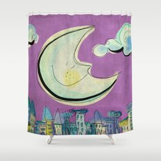 Moon - purple Shower Curtain