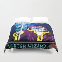wizard Duvet Covers featuring winter wizard by Nerd Artist DM