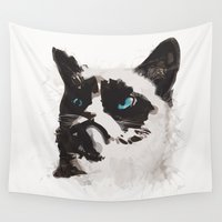 infamous Wall Tapestries featuring Cat that's Grumpy by Allison Reich