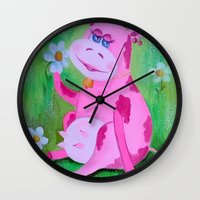 cow Wall Clocks featuring Cow by OLHADARCHUK
