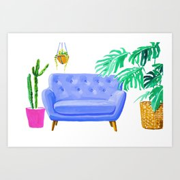 Blue Couch and plants Art Print
