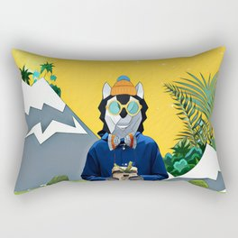 Wolf with the gift Rectangular Pillow