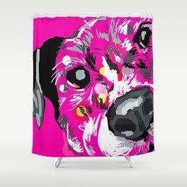 Pink Dog Portrait Shower Curtain