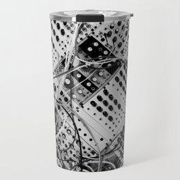 analog synthesizer  - diagonal black and white illustration Travel Mug