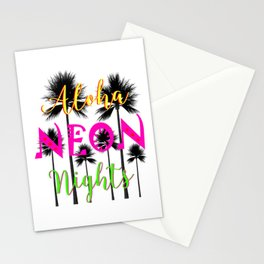 Aloha Neon Nights Hot Tropical Island Luau Party Stationery Cards