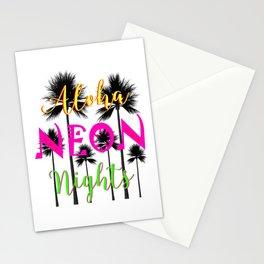 Aloha Neon Nights Hot Tropical Island Luau Party Stationery Cards