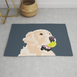 Golden Retriever with tennis ball Rug