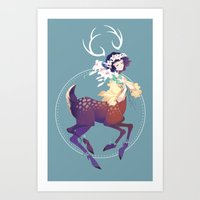 fawn Art Prints featuring Fawn by Stephanie Kao