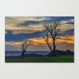 Sunset Scene at Waterfront Boardwalk, Montevideo Uruguay Canvas Print