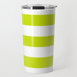 Bitter lemon - solid color - white stripes pattern Travel Mug
