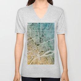 Detroit Michigan City Map Unisex V-Neck