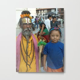 Street kid and a Sadhu Metal Print