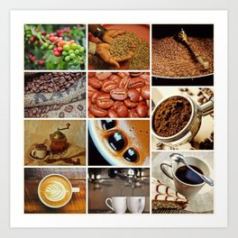 Coffee Espresso Collage - Cafe or Kitchen Decor Art Print
