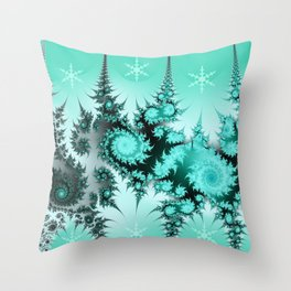 Winter magic in soft blue Throw Pillow