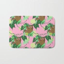 Sloth - Green on Pink Bath Mat