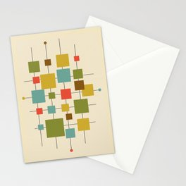 Mid-Century Modern Geometric Abstract Squares - Multi-colour Stationery Cards