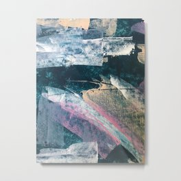 Karma [1]: a vibrant, abstract mixed-media piece in pink, peach, white and teal Metal Print