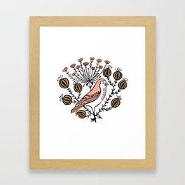 Vine - linocut minimal bird botanical folk style art print Framed Art Print