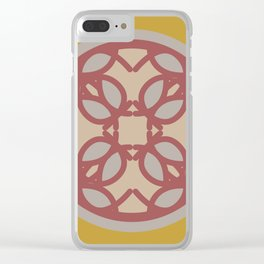 circle floral-yellow Clear iPhone Case