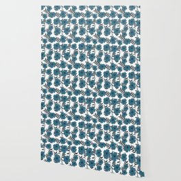 Blue Flowers with Banana Leaves Wallpaper