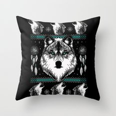 Merry Wolfmas Throw Pillow