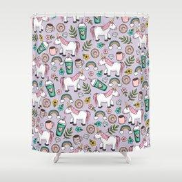 Unicorn Love Tween Girls Print, Cute Emoji, Rainbows and Frappuccinos, Purple, Girls Decor Shower Curtain