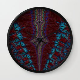 Blue and Red Fractal Wall Clock
