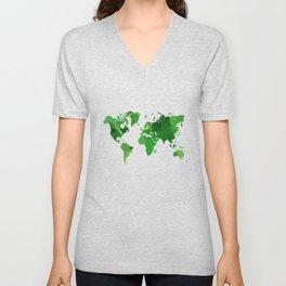 Green world map Unisex V-Neck