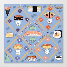 Japanese Kawaii Sushi Nodders Bobbleheads Canvas Print
