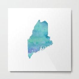 Watercolor Maine Metal Print