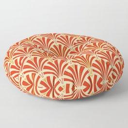 Art Deco Fan Pattern, Mandarin Orange Floor Pillow