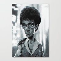 scarface Canvas Prints featuring Scarface by Nicolas Villeminot
