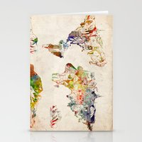 world map Stationery Cards featuring world map by Bekim ART