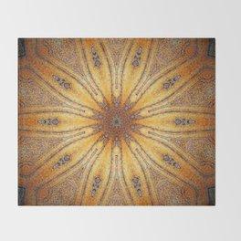 Bright Antique Gold Mandala Throw Blanket