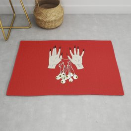 Creepy Hands Holding Eyes Rug